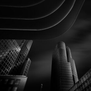 skyscrapers with roof in front fine art black and white